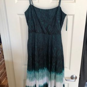 WHBM green Fit and Flare Dress sz 12